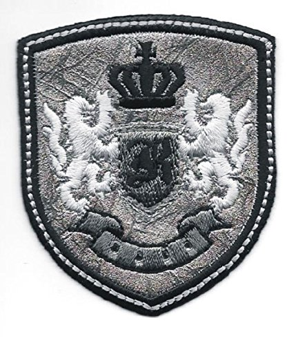 2pcs Silver Black Rampant Lion Crown Coat Of Arms Crest K Embroidery Patch - Embroidery Crown Crest