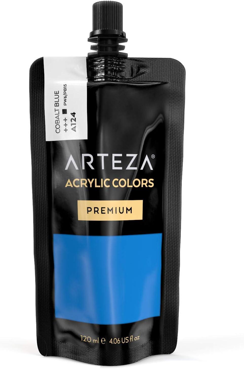 ARTEZA Acrylic Paint Cobalt Blue Color (120 ml Pouch, Tube), Rich Pigment, Non Fading, Non Toxic, Single Color Paint for Artists, Hobby Painters & Kids