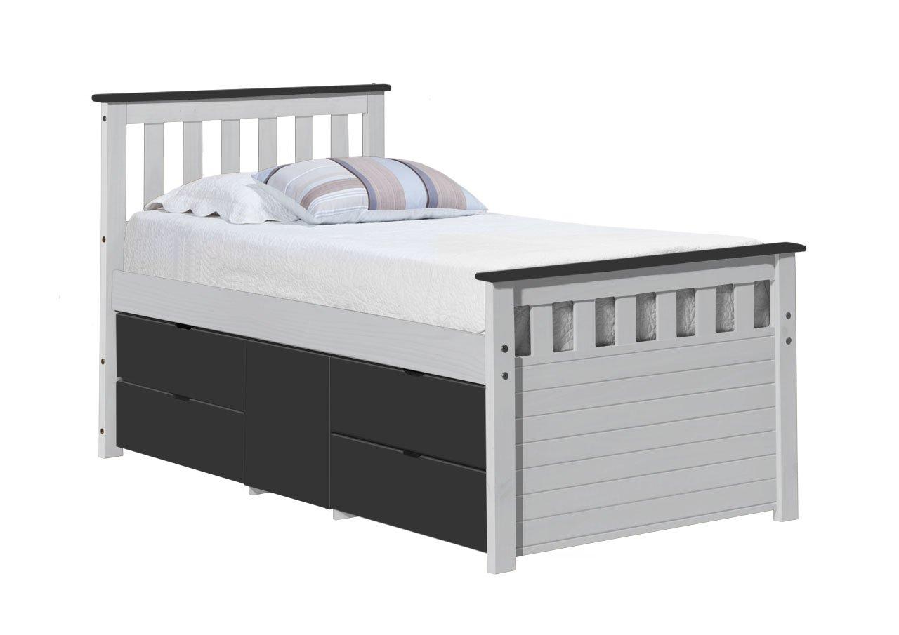 Design Vicenza Captains Ferrara Aufbewahrung Bett lang 3'0Weiß und Graphit