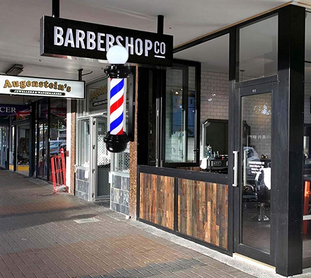 Led 88cm Retro Barber Pole Light Hair Salon Barber Shop Hairdressing Sign Red White Blue Rotating Illuminating Strips Waterproof Outdoor Porch Style Wall Lamp
