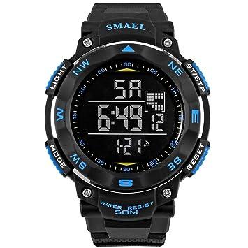 WULIFANG Reloj Digital De 50 Metros De Agua Relojes Deportivos Led Reloj Electrónico Casual Buceo Natación Watch Azul: Amazon.es: Deportes y aire libre