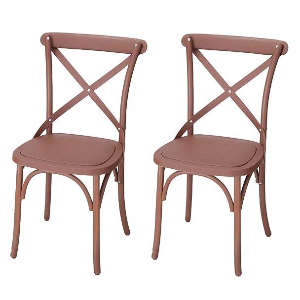 Amazon.com: Joveco Eco Friendly Nylon Vintage Style Dining Chair Curved Leg  Cross Back, Cuba Coffee (Set Of 2): Kitchen U0026 Dining