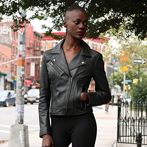 de Para Whet Blu Cuero Chamarra Negro Mujer T1pFZq