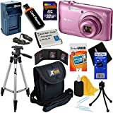 Nikon COOLPIX A300 20.1MP Digital Camera with 8x Zoom Lens & Built-in Wi-Fi (Pink) - International Version (No Warranty) + Battery & AC/DC Charger + 10pc 32GB Dlx Accessory Kit w/HeroFiber Cloth