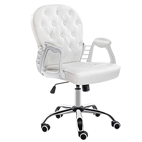 Marvelous Jl Comfurni Office Chair Faux Leather Armchair Swivel Adjustable Chair Home Office Computer Girl Desk Chairs Cream White Ibusinesslaw Wood Chair Design Ideas Ibusinesslaworg