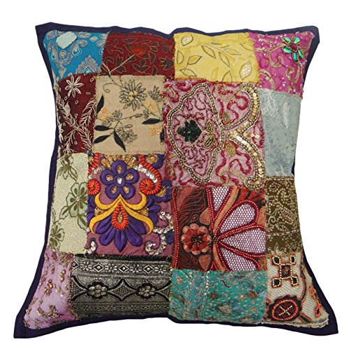 Beaded Sofa Cushion Covers Patchwork Pillow Embroidered Indian Cushion Case 18