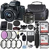 Canon EOS M50 24.1MP Mirrorless Digital Camera (Black) + EF-M 15-45mm f/3.5-6.3 IS STM Lens (Graphite) + 48GB Memory + Filters & Macros + Spider Tripod + Slave Flash + Professional Accessory Kit