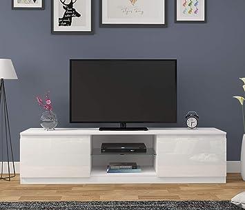 Keinode Moderno Mueble de TV LED Blanco Mate y Blanco Alto Brillo de luz LED RGB