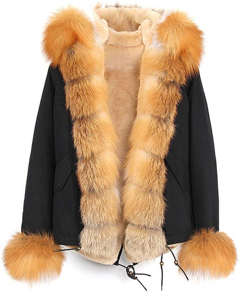 Jsix Chaqueta de Invierno para Mujer con Capucha de Pelo,Parka Jacket,Abrigo Cálido con Parte Acolchada Combinada