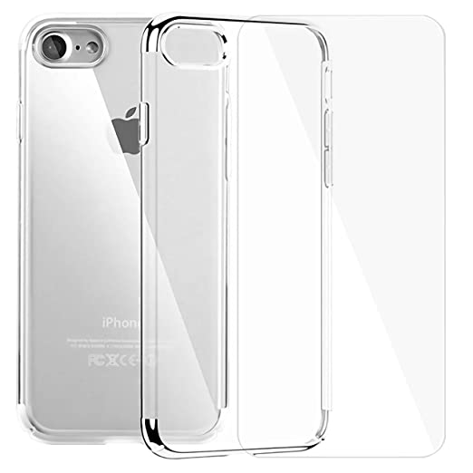 Slim Clear iPhone Case and Screen Protector Set Crystal Clear TPU Cover Case with Soft Shock Absorption Bumper and Tempered Glass Screen Protector for iPhone 7/8 (Silver)