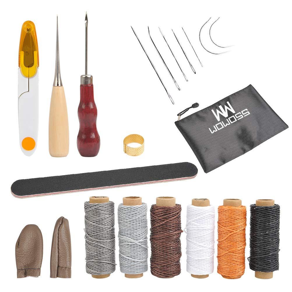 Fingerhut Groover Lederhandwerk f/ür DIY N/ähzubeh/ör WOWOSS 21 St/ück Leder Working Craft Werkzeuge Hand Stitching Kit Nadeln Bohren AHL Wachsfaden Fingerlinge