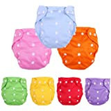 CSKB Baby Washable Reusable Cloth Diapers, 7pcs