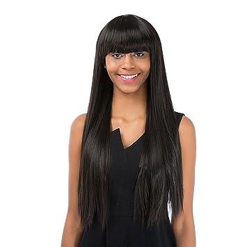 Anself Perücke Haar Wig Glatte Lange Haare Schwarz 62cm