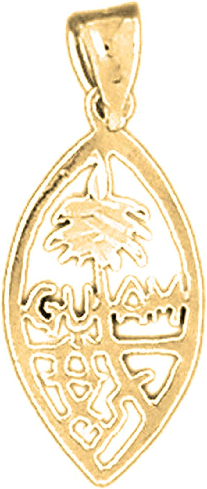 Jewels Obsession Silver Guam Charm Made in USA Yellow Gold-plated 925 Silver Guam Charm