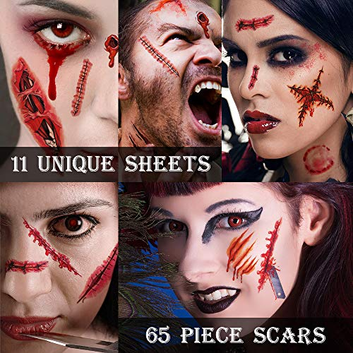 Zombie Makeup,Halloween Makeup,11 Unique Sheets,Fake Blood ,Scar Tattoo,Halloween Tattoos Fake Blood Makeup Vampire Makeup, Enjoy Halloween Makeup Kit Zombie Tattoos,11 Sheets,65 Pics Fake Scars Cuts