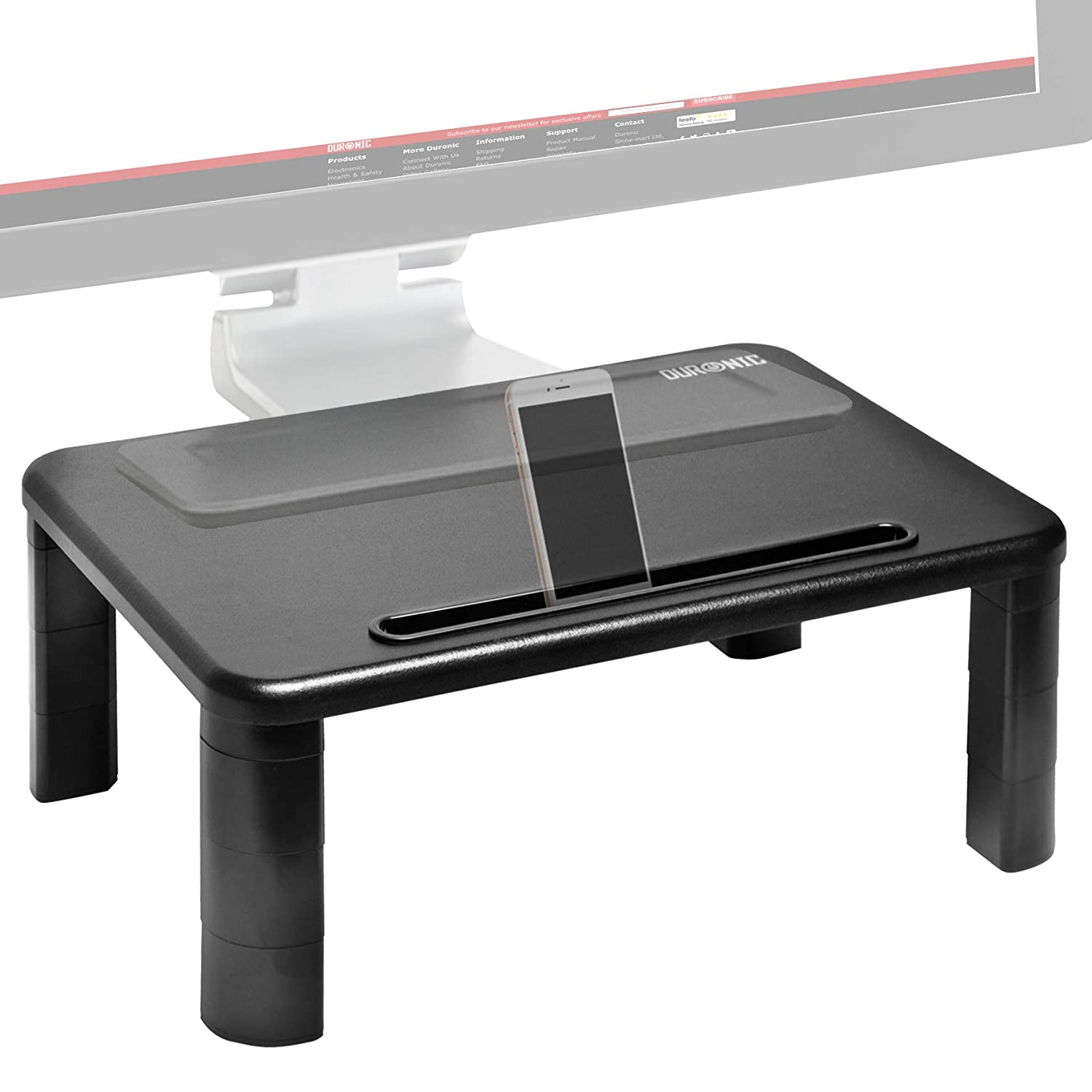 Duronic DM054 Black Acrylic Stand Riser for PC Computer Monitor/Laptop and TV (50cm X 20cm / 30kg capacity) + 2 Year Warranty