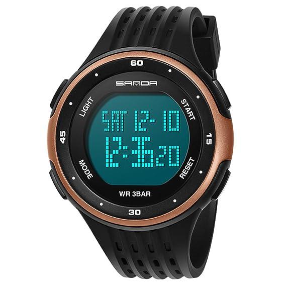 Reloj pantalla digital,Moda casual diseño de múltiples funciones al aire libre impermeable luminoso impermeable reloj electrónico-E: Amazon.es: Relojes