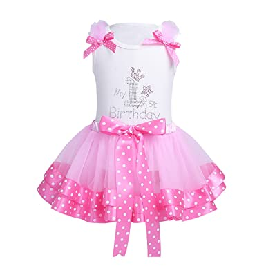 edcc4f895 YiZYiF Baby Girls My 1st Birthday Fairy Outfit Tutu Layer Skirt With  Ruffles Tank Top Set