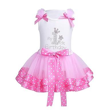 CHICTRY My 1st Birthday Outfit Baby Girl Ruffles Shirt Top Tutu Petal Skirt Set WhitePink 9