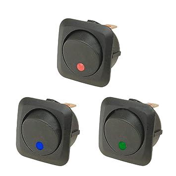 E Support/™ 20 X 12V 25A Auto KFZ Schalter EIN//AUS Wippenschalter LED Beleuchtet Schalter Blau Rot Gr/ün Gelb 25mm