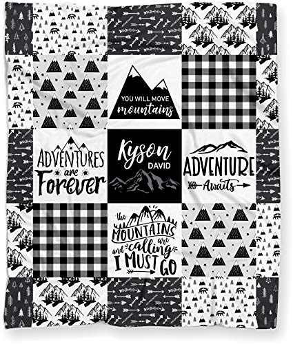 Baby Blanket for Boys, Personalized Mountains are Calling Tribal Adventure Woodland Baby Shower Gift - (Soft Minky Fleece - 50