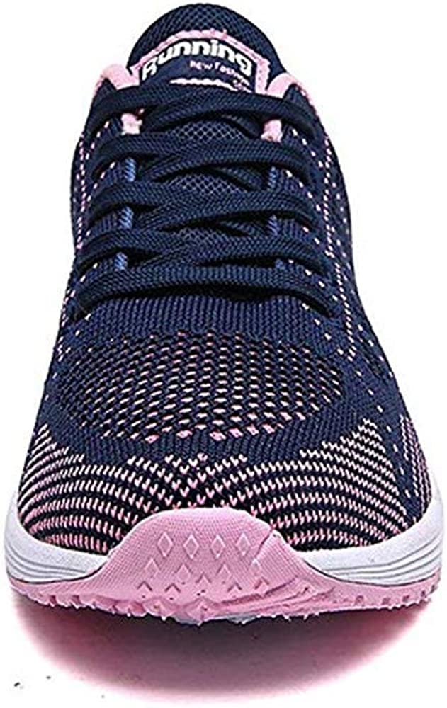 PAMRAY Femmes Baskets de Courses Basses Athletique Marche Filets Chaussures Sport Run Noir Bleu Gris Blanc 35-44