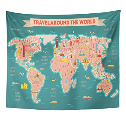 Map Of Asia Dubai.Amazon Com Emvency Decor Wall Tapestry World Travel Map And Tourism