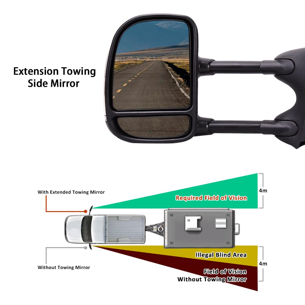 Catinbow Side View Mirror Left+Right For 99-07 F250 SuperDuty//00-05 Excursion Smoke+Signal Manual Tow Mirrors