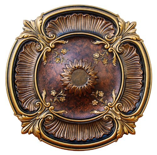 Fine Art Deco ''Spring Dreams'' Hand Painted Ceiling Medallion 30 In. Finished in Gold, Bronze and Copper