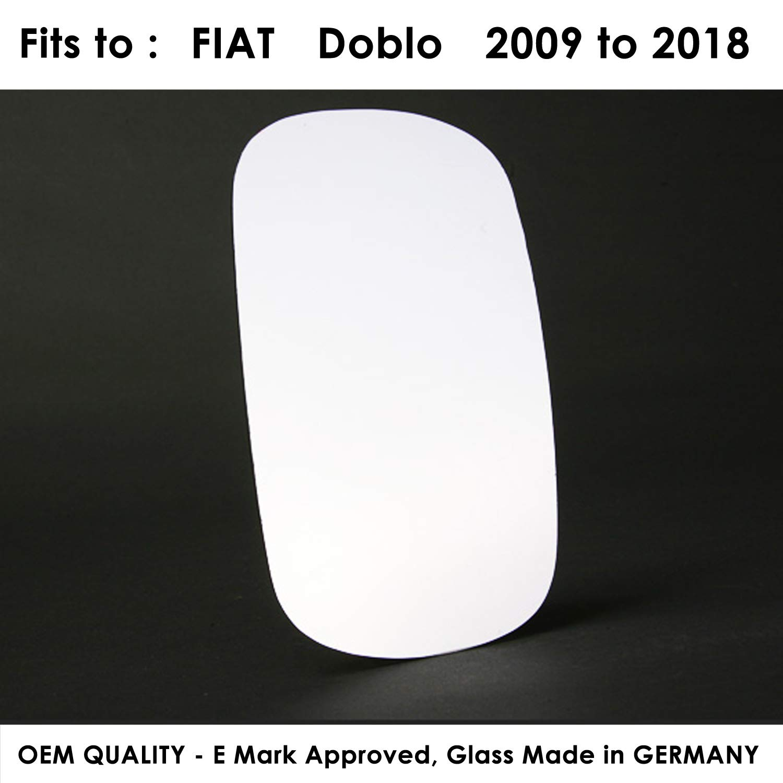 Passenger Side FIDoblo 2000 to 2008 Silver Door Mirror Glass LH