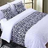 YIH Bed Runner With Cushion Cover 3 Pcs Set, Luxury Hotel Wedding Room Bedroom Decorative Bed End Scarf Protector Slipcover Pad For Pets, 94 Inches By 19 Inches