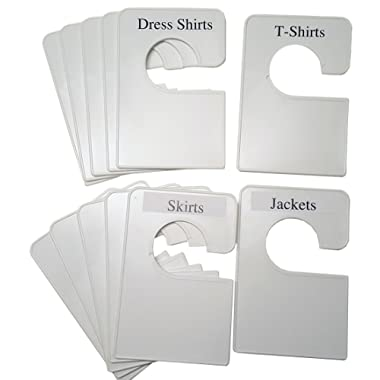 12 Blank White Clothing Dividers Plus 48 Labels 5.25x3.5 Inches (Regular)