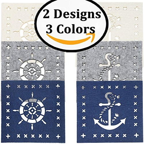 Themed Coaster (Dulce Cocina Nautical Themed Coasters Set of 6, 3 Colors Pack)