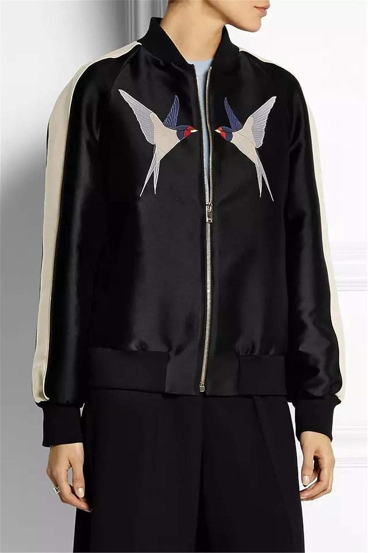 BACHDLS New Female Bird Catwalk Dress Embroidered Satin Baseball Jacket at Amazon Womens Coats Shop
