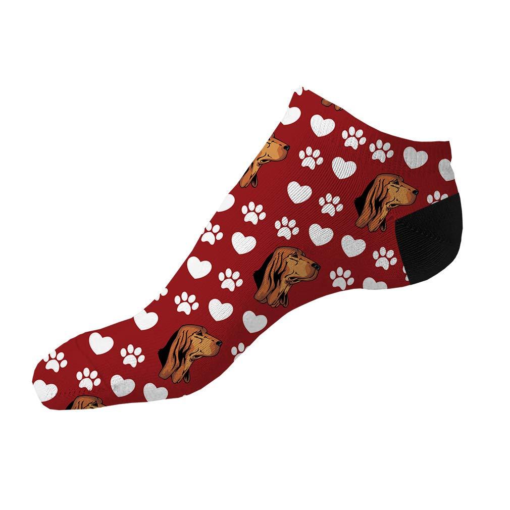 Bruno Jura Hound Dog Red Pattern Men-Women Adult Ankle Socks Novelty Socks