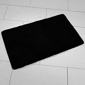 Handtuch24 Uni Tapis De Bain Acrylique Noir Noir 70 X 120 Cm