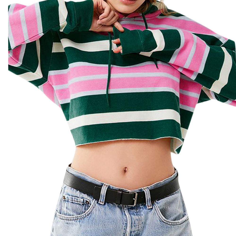 Kemilove Women Colorful Casual Hoodie Striped Sweatshirt Pullover Tops Blouse Jumper Coat