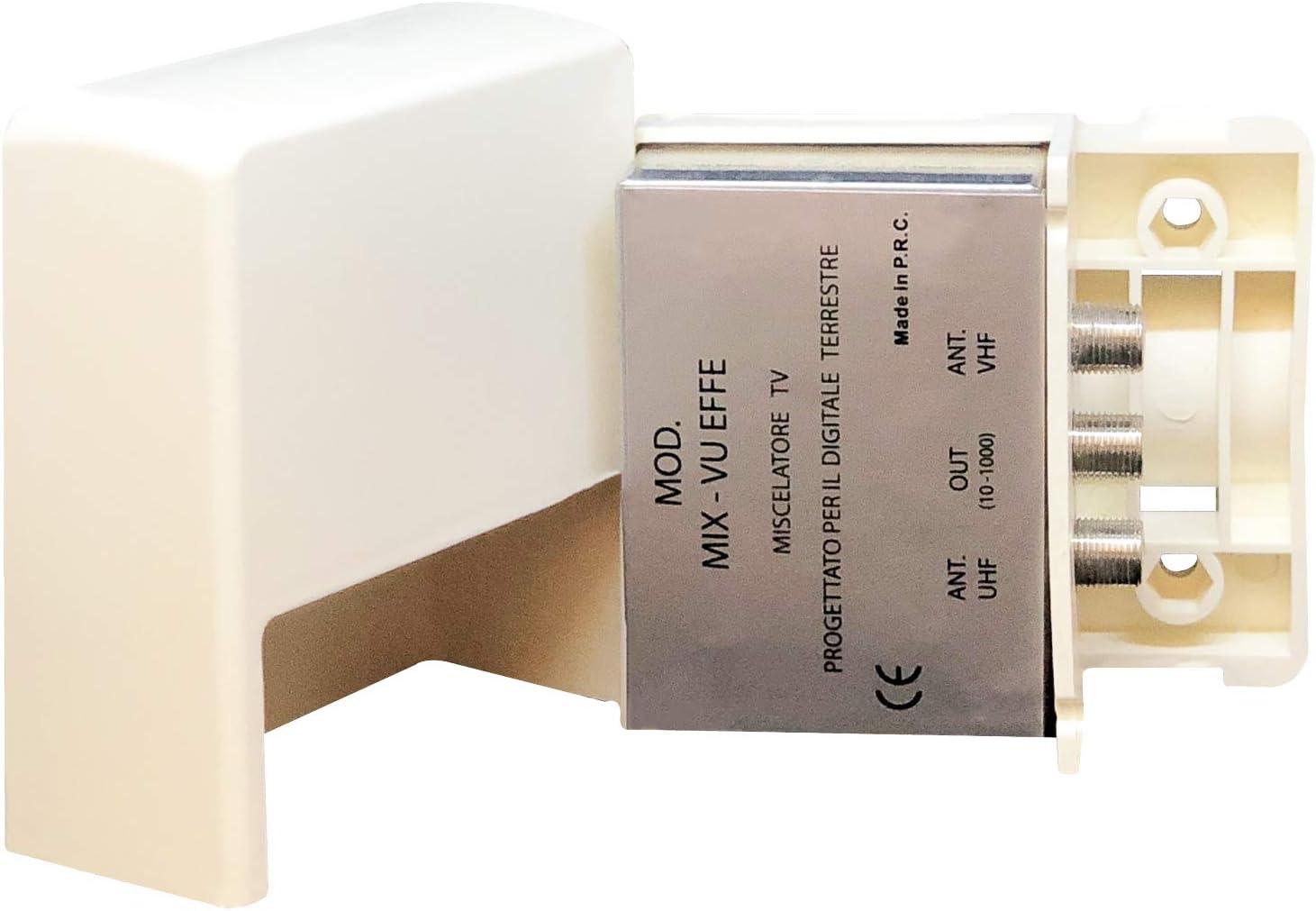 Elettronica Cusano Mix-VU EFFE – Mezclador de Antenas VHF/UHF, Mezclador de Poste, 2 entradas: VHF y UHF, Conector F, atenuación de Paso <1 dB, Blanco