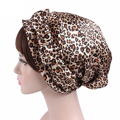 (Super iMan Satin Chemo Hat Fashion Scarf Easy Tie Sleeping Curly Hair Wrap Turban Hat Headwear For Cancer (Leopard))