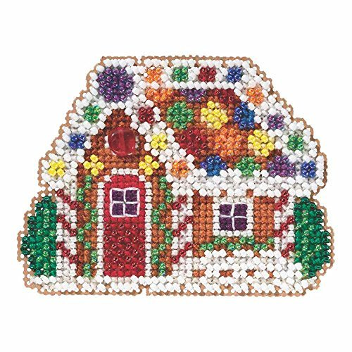 (Gingerbread Cottage Beaded Counted Cross Stitch Christmas Ornament Kit Mill Hill 2015 Winter Holiday MH185305)