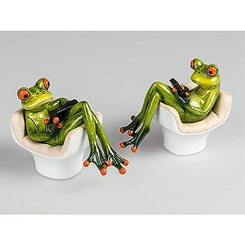 lot de 2 figurines grenouille dco grenouilles dans le fauteuil vert formano - Fauteuil Grenouille
