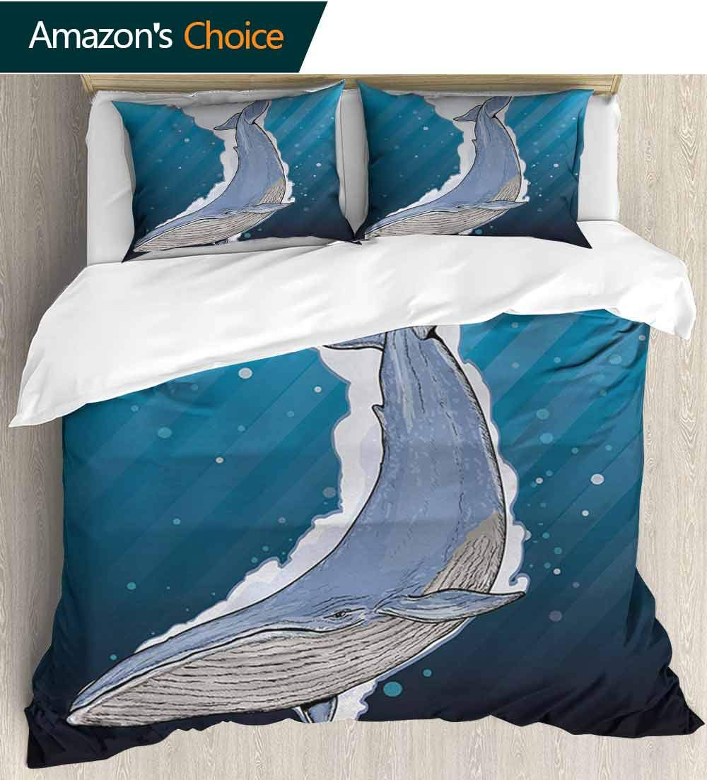 Whale 3 PCS King Size Comforter Set,Cartoon Whale Swimming Under Ocean with Fish Shells Near Palm Island Environment Cool 3D Outer Space Bedding Digital Print(68''W x 85''L) Multi Colored