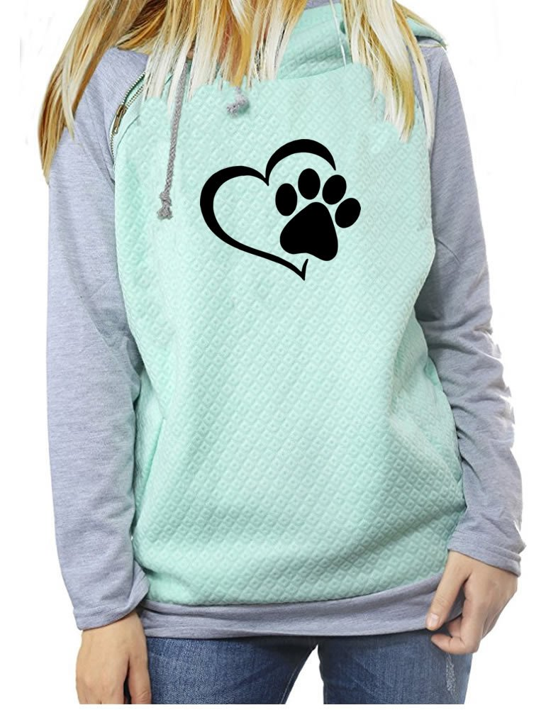 Rfecccy Love Dogs Print Long Sleeve Raglan Zipper Pullover Hoodies & Sweatshirt For Women Green S