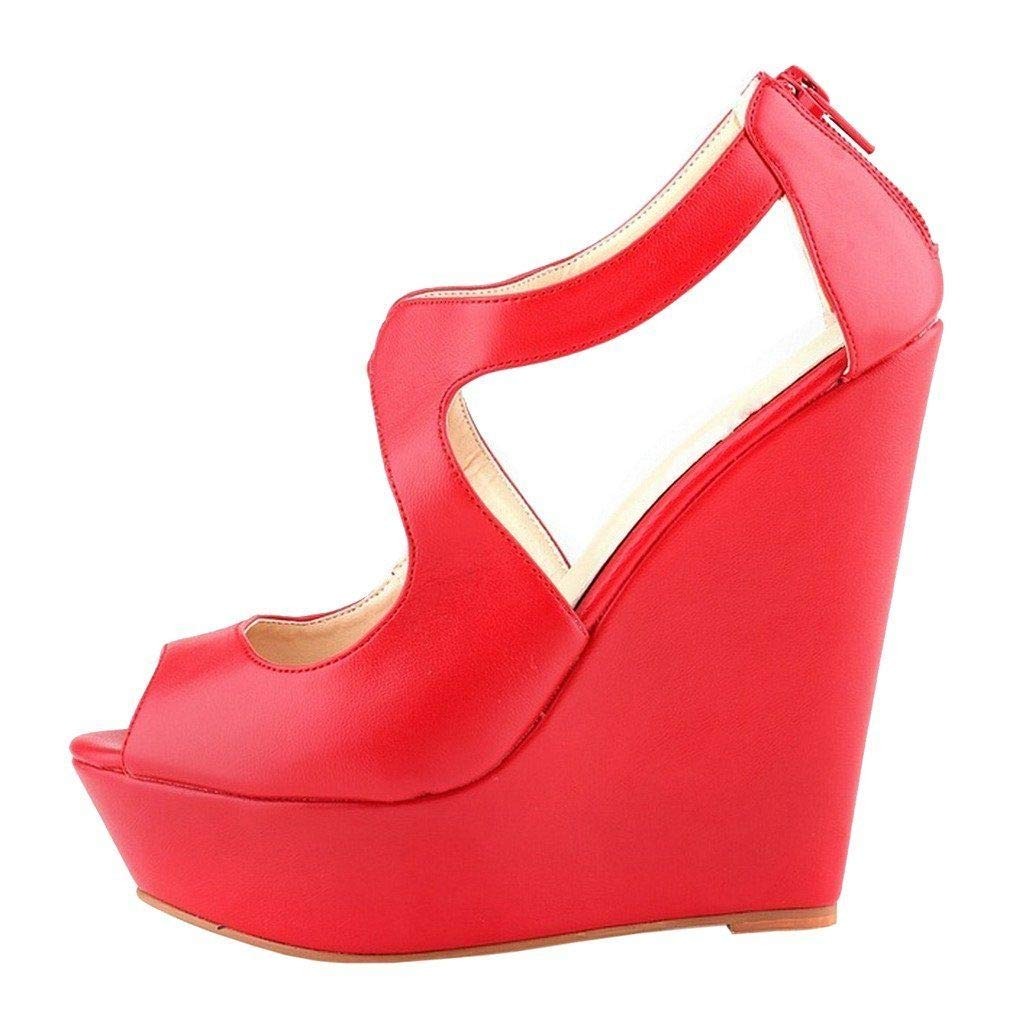 Red Heels Addict's Women's shoes Peep-Toe Wedge Zip Heeled Platform Sandals