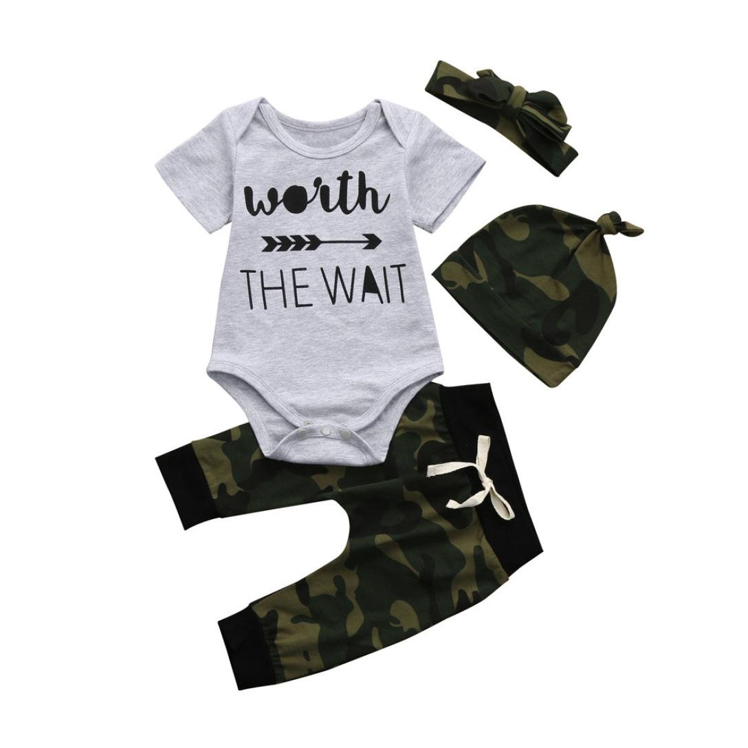 3Pcs Unisex Baby Clothes, Newborn Baby Girl Boy O Neck Letters Romper Camouflage Pants Hat Outfits