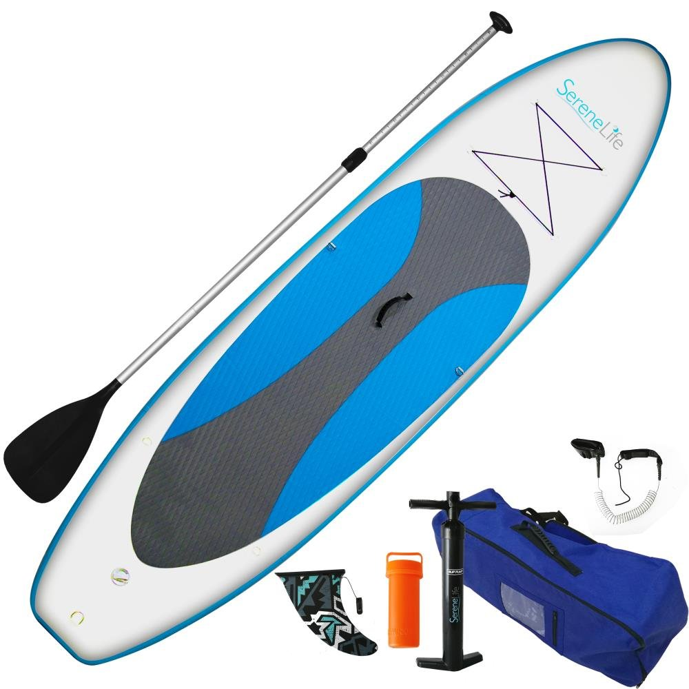 SereneLife Inflatable Stand Up Paddle Board 6 Inches Thick Universal SUP Wide Stance w Bottom Fin for Paddling and Surf Control | Non Slip Deck | Youth and Adult
