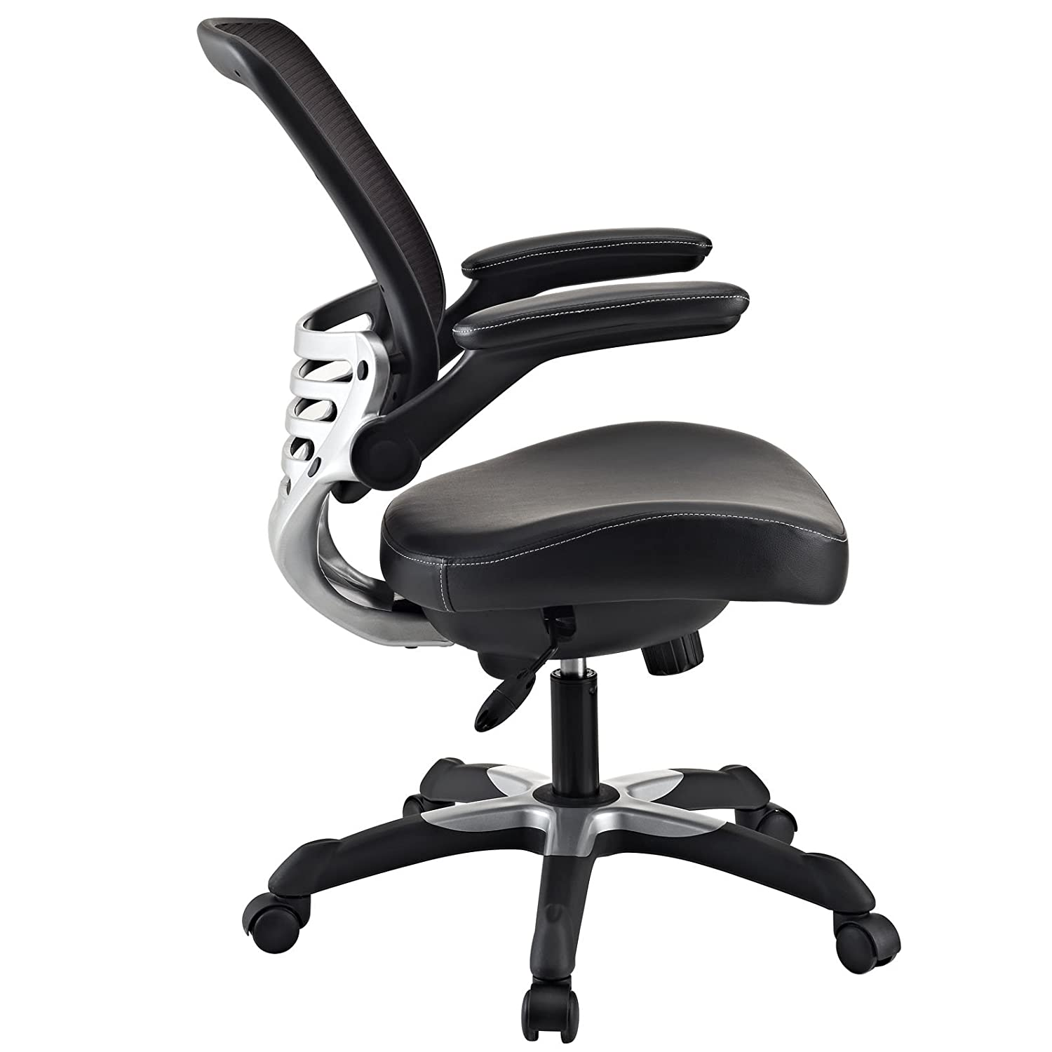 amazoncom lexmod edge office chair with mesh back and black leatherette seat kitchen dining amazon chairs office