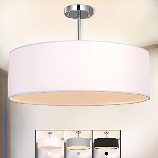 Deckenleuchte Diele LED Schlafzimmer Stoff weiss Wohnzimmer