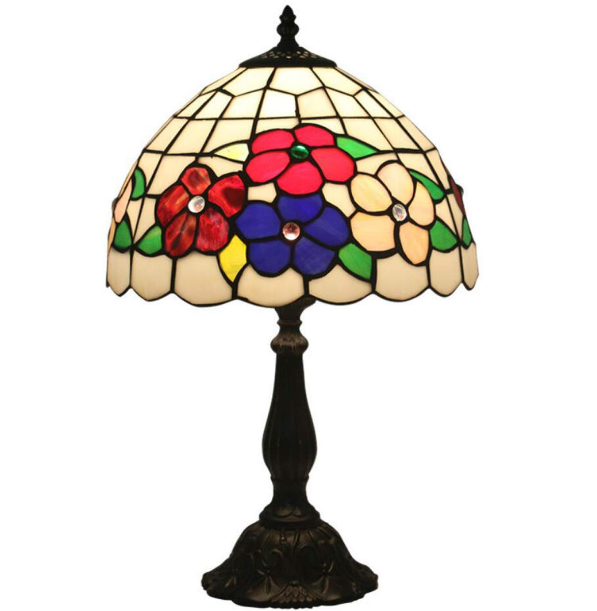 ティファニースタイルテーブルランプ、ミニマリズム色の花ガラスシェードベッドサイドランプ亜鉛合金ベース、ホームコーヒーデスクランプ、12インチ B07RPVGJD4