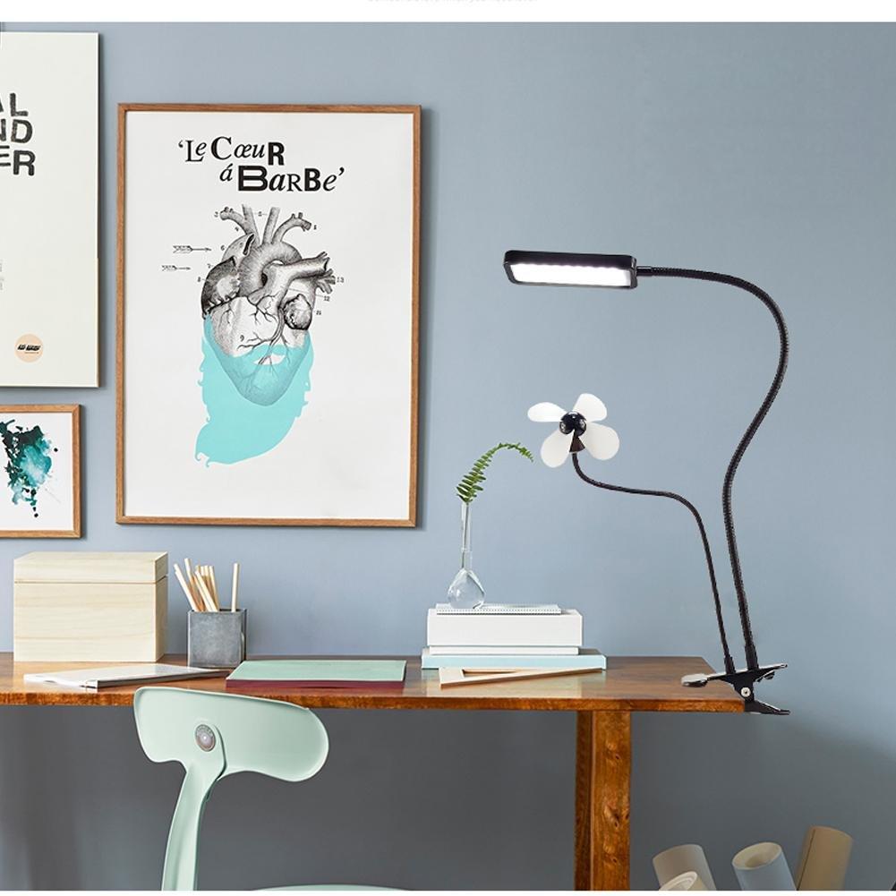 Regulable LED Lámpara de mesa lámpara de escritorio, escritorio, de estudiantes Noche Lectura lámpara de mesa con ventilador, USB Conector lámpara con pinza distintos colores f721a5